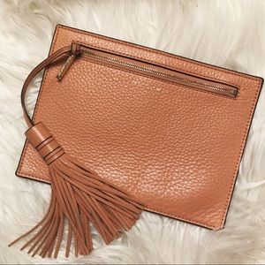 Rebecca Minkoff Camel Brown Leather Tassel Pouch